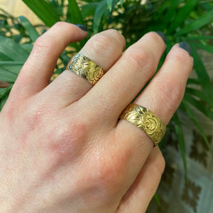 Vintage Pair of Wide Gold Wedding Bands Roses