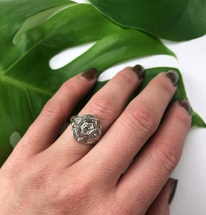 Edwardian Platinum and Old Euro Diamond Ring