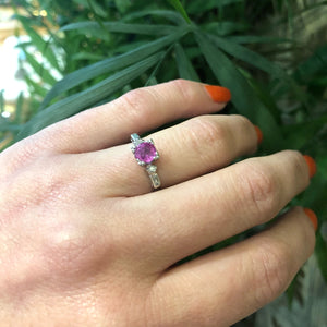 1940s Platinum Diamond and Pink Sapphire Engagement Ring