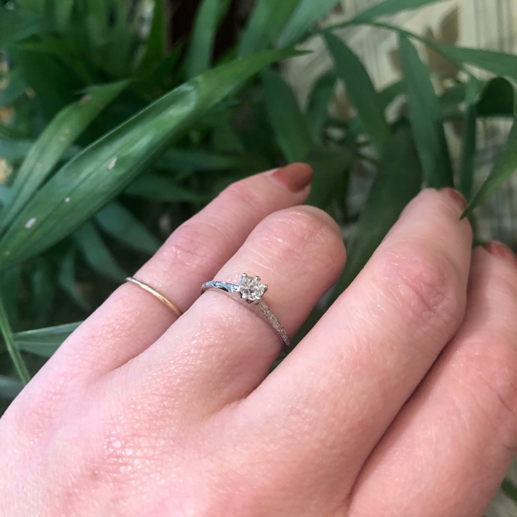 Vintage Forget Me Not Old Mine Diamond Solitaire