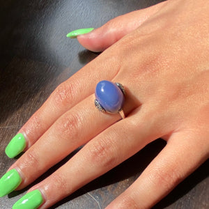 Dramatic & Dreamy Chalcedony Art Deco Statement Ring