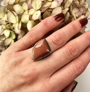 Asymmetrical Goldstone and Sterling Silver Ring