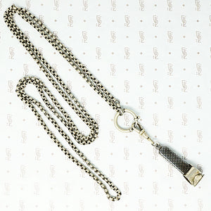 "40"" long vintage 800 silver rolo chain with extra large spring ring shown with niello cigar cutter sold seperately"