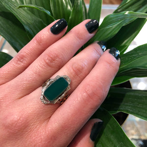 Fancy Green Onyx Vintage 1930's Silver Ring