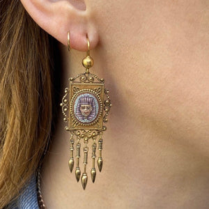 Fabulous Egyptian Revival Micro Mosaic Pharaoh Earrings