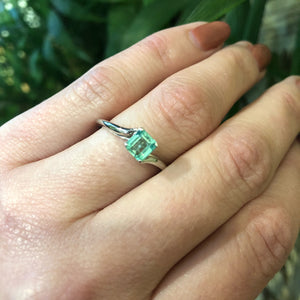 Vintage Platinum and Emerald Engagement Ring