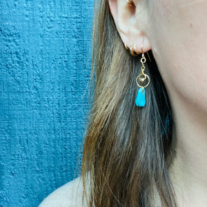 Golden Rings & Turquoise Drops Earrings by Brin