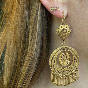 Big and Fabulous Vintage Gold Filigree Earrings