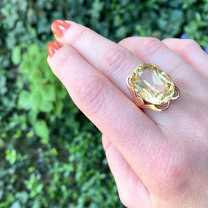 Russian Sunny Citrine Cocktail Ring in Rose Gold