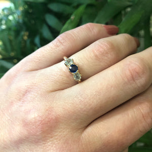 The Antique Old Mine Diamond and Sapphire Three Stone Ring