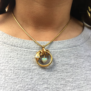 Gold Snake Necklace with Opal