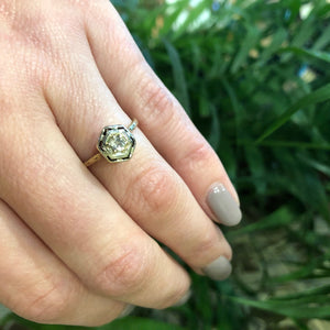 1920's Yellow Gold Filigree Diamond Engagement Ring