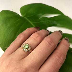 Green Garnet and Mine Cut Diamond Ring