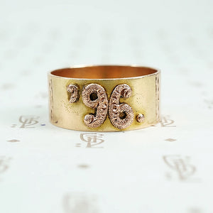 1896 date ring cigar band style with rose gold applied numbers