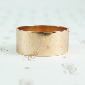 1896 date ring cigar band style with rose gold applied numbers back of band