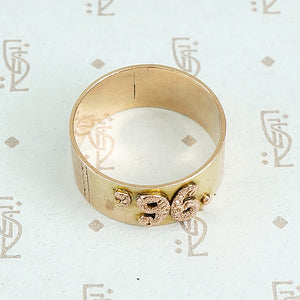 1896 date ring cigar band style with rose gold applied numbers top view