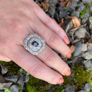 Breathtaking Antique Double Halo Sapphire Ring