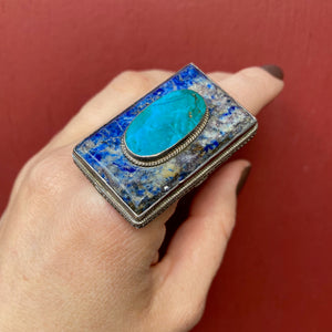 Bold Sodalite and Turquoise Sterling Ring
