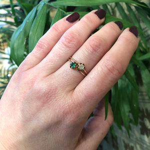 Antique Crossover Ring with Old Mine Diamond and Emerald