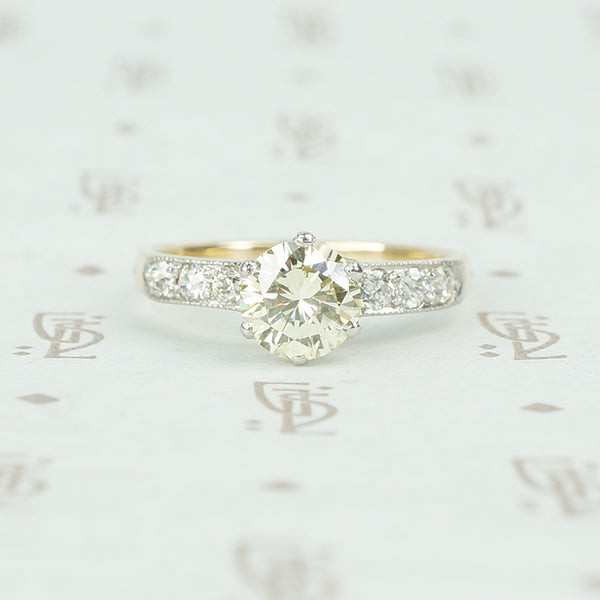 2 tone platinum and yellow gold vintage diamond engagement ring