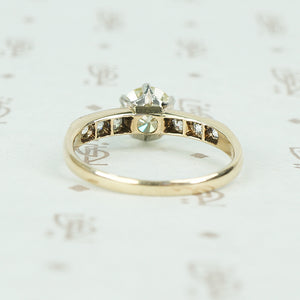 2 tone platinum and yellow gold vintage diamond engagement ring back view