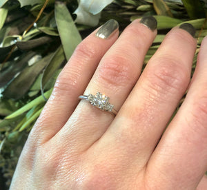 Three Stone Vintage Platinum and Diamond Engagement Ring