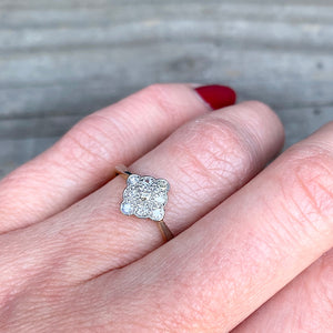 The Scalloped Square Diamond Ring