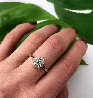 Cushion Cut Vintage Diamond Cluster Ring