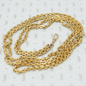 Long victorian guard chain 9ct gold with dog hook detail