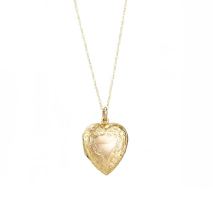 Antique Hand Engraved Heart Locket - Gem Set Love
