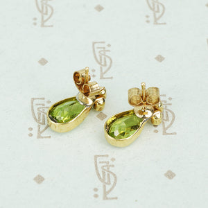 pear shaped peridot and pearl stud earrings back view