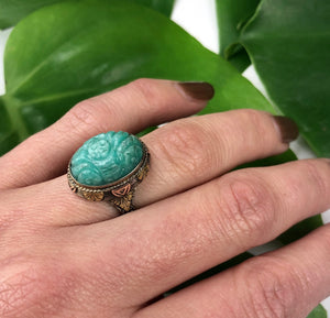 Unique Carved Amazonite Deco Ring