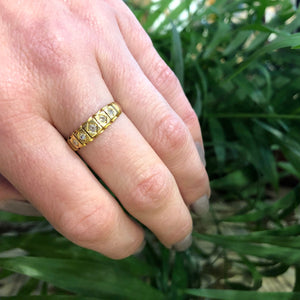 Old Mine Diamond 18k Gold English Band