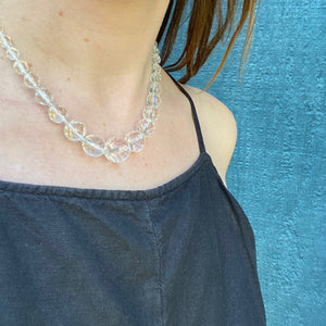 Faceted Sphere Crystal Bead Necklace