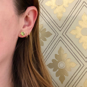 Heart Shaped Peridot Gold Stud Earrings