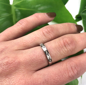 Vintage Platinum Band set with Round and Baguette Diamonds