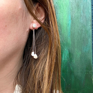 Natural Pearl & White Gold Chain Earrings