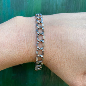 Double Rope Link Sterling Charm Bracelet