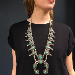 Heavy Navajo Squash Blossom Necklace in Turquoise and Silver