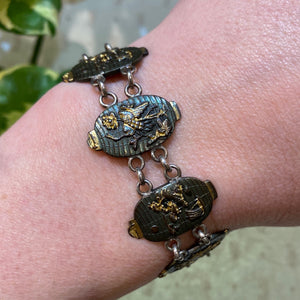 Antique Shakudo Bracelet in the shape of Japanese Lanterns