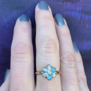 Antique Opal Flower Rose Gold Ring