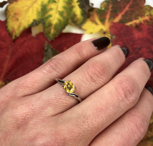 Platinum and Yellow Sapphire 1960s Engagement Ring