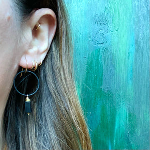 Brass & Black Tourmaline Earrings by Brin