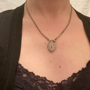 Fancy Silver Heart Lock Necklace by Ancient Influences