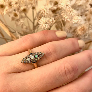 Pavé Rose Cut Diamond and Opal Antique Ring