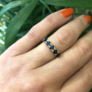 Antique Rose Gold Blue Sapphire Band