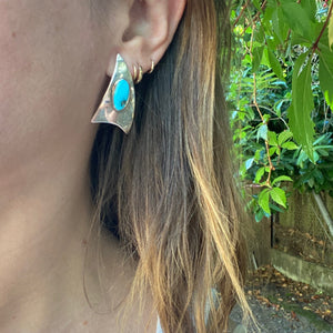 Jaunty Silver Triangle Earrings with Turquoise