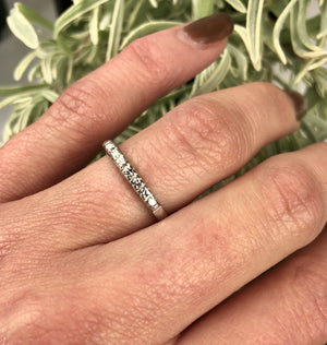 Classic 1940s Platinum Wedding Band set with 7 Diamonds