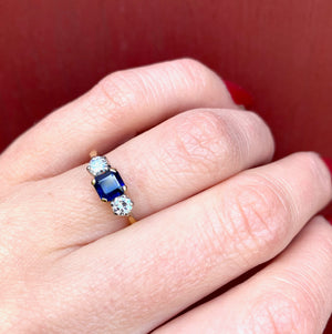 Bold 18k Yellow Gold Sapphire and Diamond Trilogy Ring
