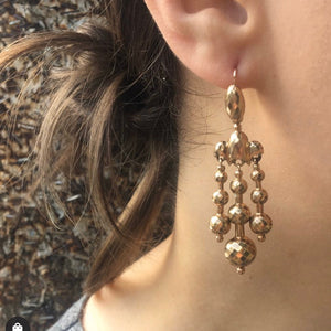 The Favourite Day and Night Faceted Gold Dangle Earrings
